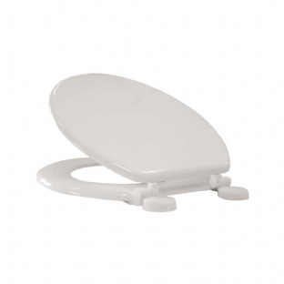 Arley White Mouldwood Plastic Hinge White Toilet Seat (400mm x 370mm) - 237204